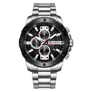 Men Stainless Steel Band Quartz Military Sporty Waterproof Watch