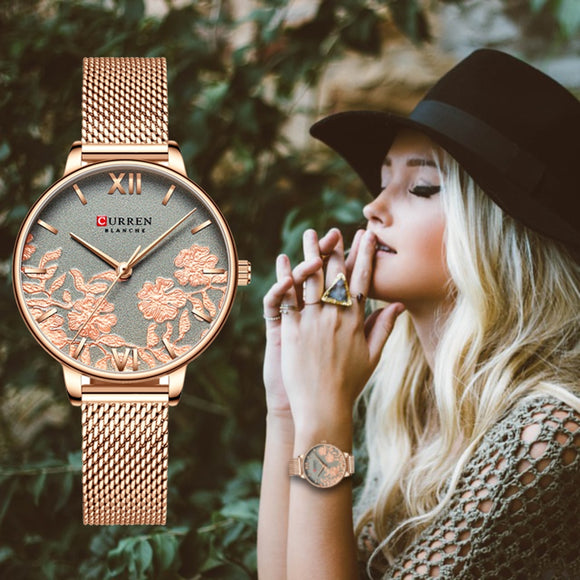Rose pattern Stainless Steel Strap Wristwatch for Women