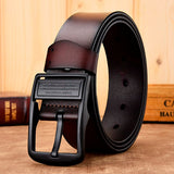 Men  genuine leather strap luxury pin buckle fancy vintage belt