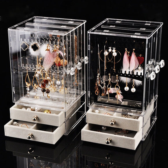 Dust-proof Earrings Holder Jewelry Organizer Storage Drawer Box