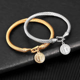 Stainless Steel Cross  Gold Silver Color Bracelet Bangle For Women