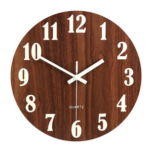 Luminous Wall Clock,12 Inch Wooden Silent Non-Ticking  Wall Clock