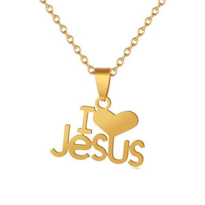 Heart I Love JESUS pendant Women b Christian Stainless steel Necklace