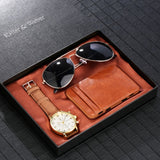 Quartz Watch Sunglass Credit Card Case/wallet Men's Gift Set