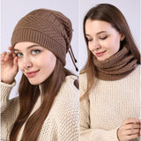 women knitted  Hat solid snood scarf warm winter Female Beanie cap