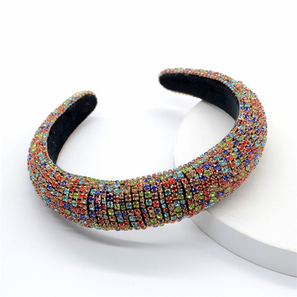 Colorful Crystals-Inlaid Sponge Rhinestone Headband