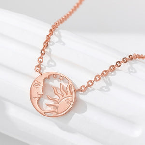 Gold Silver Color Crescent Moon Sun Pendent Necklaces For Women