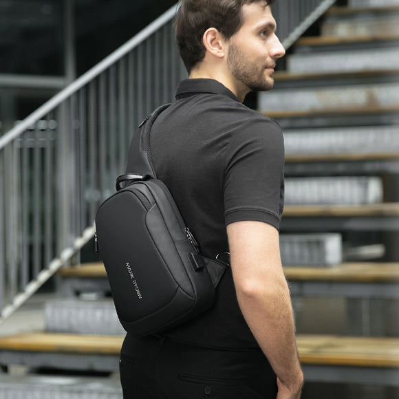 Multifunction Crossbody  Waterproof USB Charging Sling Pack Men Bag
