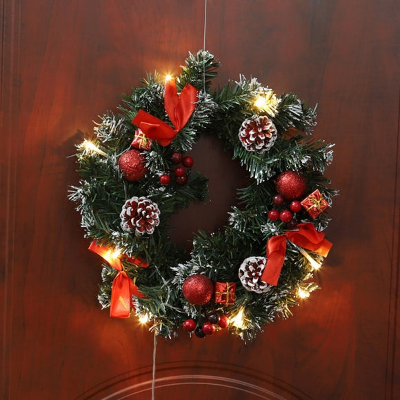 Christmas Wreath  Battery Powered LED Light String Front Door Hanging