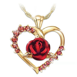 Love Heart Red Rose Pendant  Women Girl  Gold Color Necklace