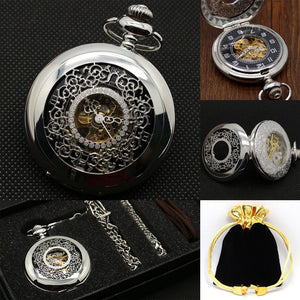 Carving Pocket Watch With Pocket Box Gift Set