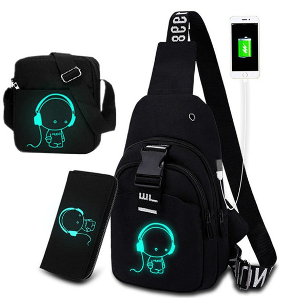 Multifunction Fashion Men women Crossbody Bags USB Charging Chest Pack