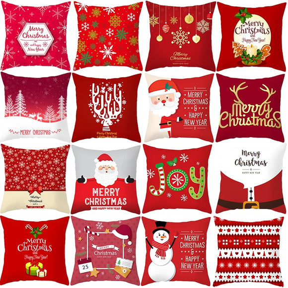 Red Santa Claus Tree Christmas Cushion Cover Merry Christmas Decorations