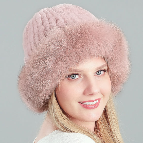 Real Rex Rabbit Hair Fox fur beanie caps Winter woman hat