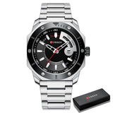 Stainless Steel Quartz Male men Watch with Date and week