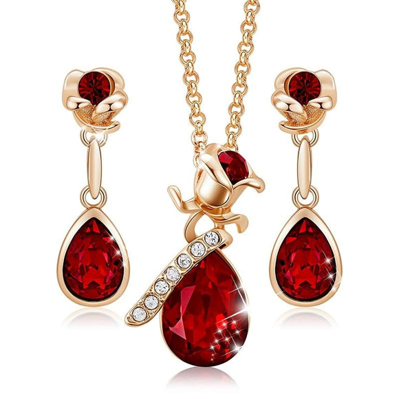 Women Gold   with Crystals Necklace Earrings Jewelry Set
