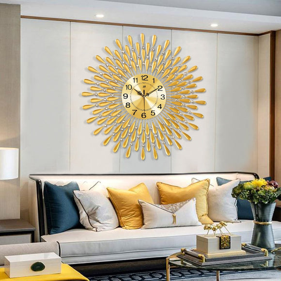 Wall Clock Crystal Sun Modern Style Silent Decoration digital wall clock