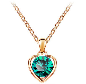 Lovely  Crystal Heart Pendant Necklace fashion Jewelry for women