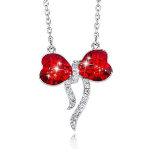 Red Austria Crystal Pendant Necklace  925 Sterling Silver Chain for Girl