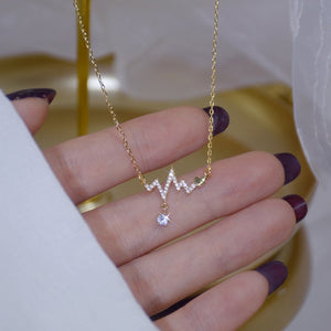 Gold Fashion Design Signal Fluctuation Shape Necklace