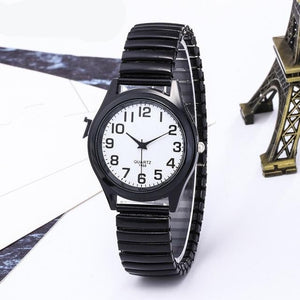 Vintage Business Women Men lovers Elastic White Black Quartz Watch