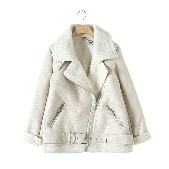 Women  faux leather jacket  with belt turn down collar Ladies coat