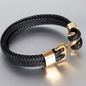 Titanium Steel Black Leather Woven Anchor men Leather Bracelet