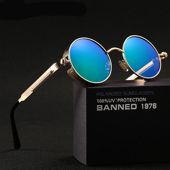 polarized Round Metal Sunglasses UV400 Men's Sunglasses