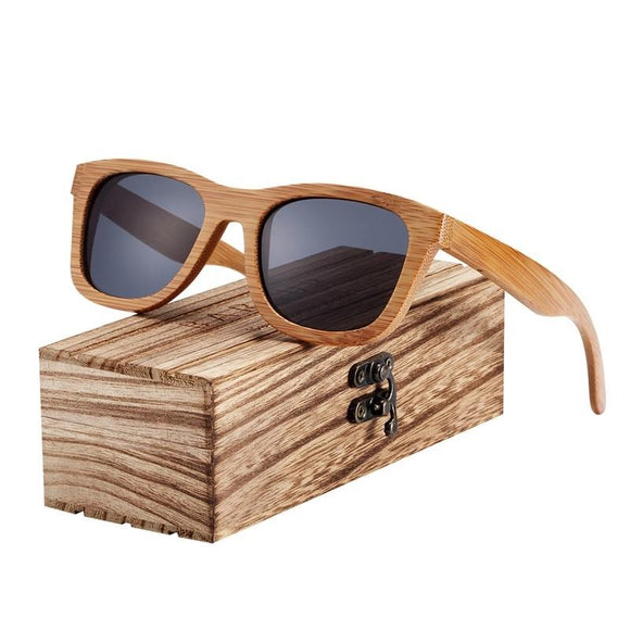 Retro Men Women Polarized Bamboo Handmade Wood Sunglasses