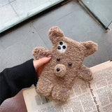 Plush Bear Soft Phone Case for Iphone 11 Pro 12 Max X XS Max XR 7 8 Plus SE