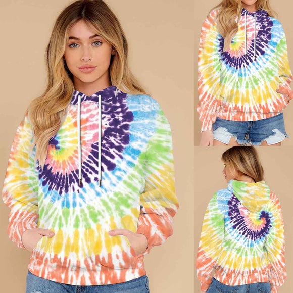 Plus Size Women Tie Dye Hooded Sweatshirt Ladies Baggy Pullover Tops