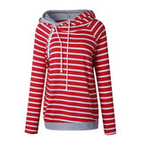Striped Print Hoodies Women Hooded Loose Zipper Tops Casual Sweatshirts