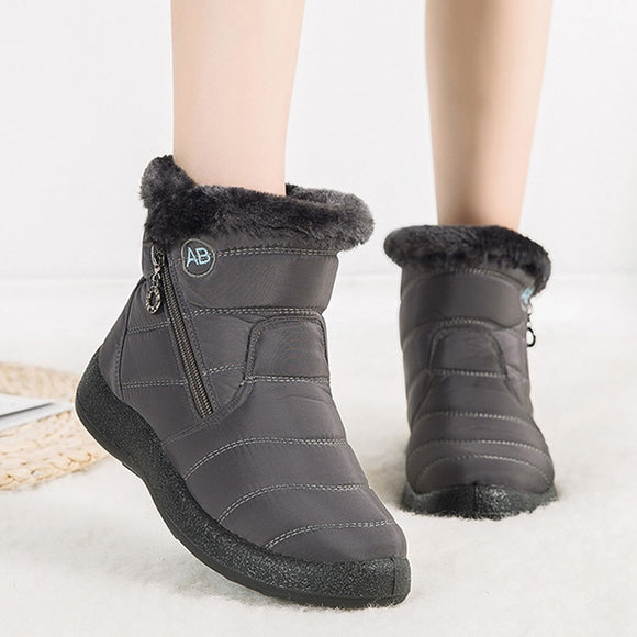 Winter Snow Boots Waterproof Warm Plush Ankle Boots For Women