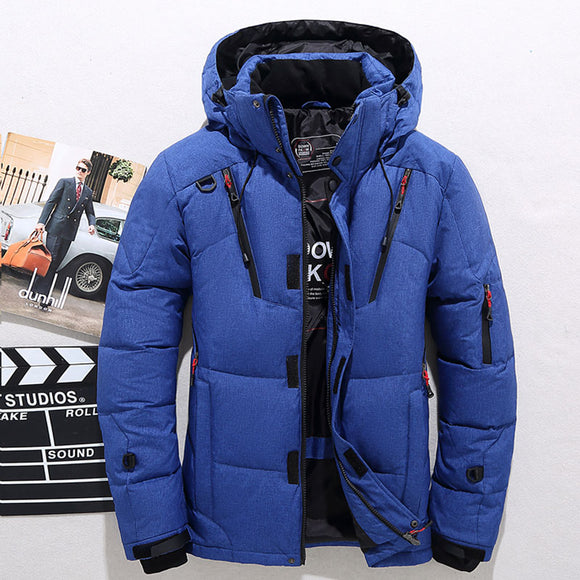 Men's White Duck Down Jacket Warm Hooded Thick Puffer Jacket