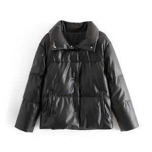 faux leather oversized Winter Female turn down collar jacket coat