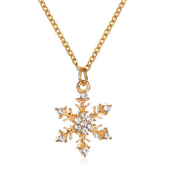 Colorful  Christmas Tree Snowflake Pendant Necklace For Women
