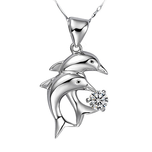 Romantic Dolphin Crystal Pendant Necklace For Women