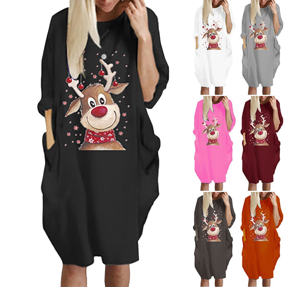 Christmas  Ladies Fashion O Neck Women Casual Loose Dress