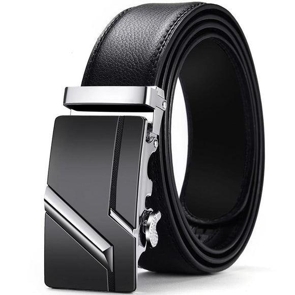 Genuine Leather Men Strap Belts  Automatic Buckle Black Belt
