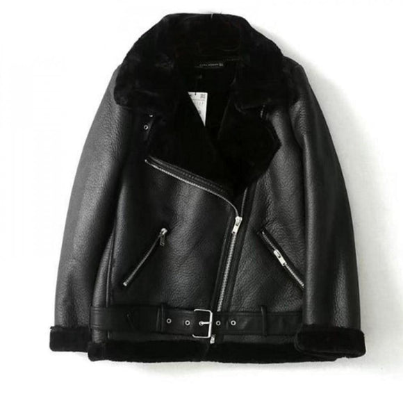 Women Thicken Faux Leather Jacket Winter Coats