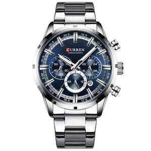 Military Quartz Silver Blue Men Stainless Steel Chronograph Wrist watch