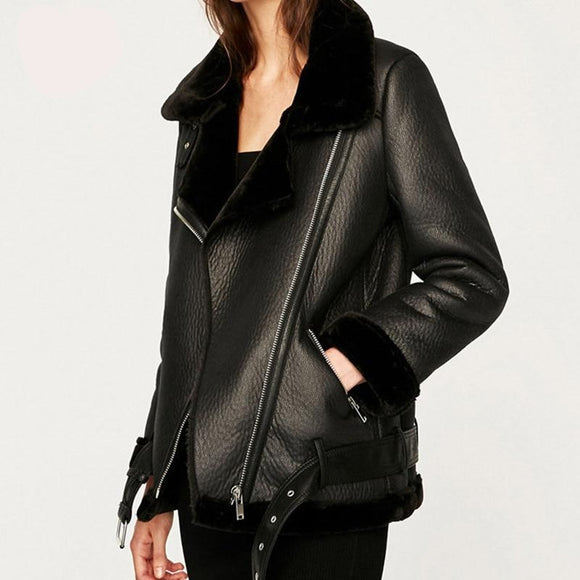 Winter Women Coats Thicken Faux Leather Female Outwear Jacket