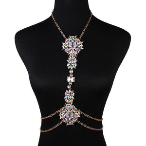 Women Belly Waist Body Jewelry Crystal Rhinestone Necklace