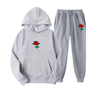 Rose Flower Print  Hoodies Winter Sweatshirt Casual 2-piece Set Jogger Pant+Pullover