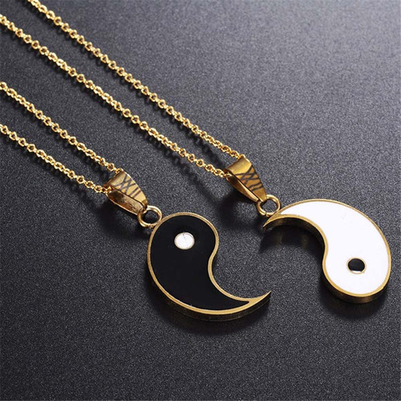 2 Pcs Tai Chi Alloy Yin Yang Pendant Puzzle Piece Necklace