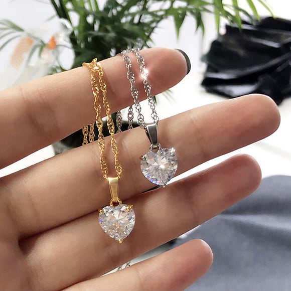 Women Stainless Steel Gold Chain Zircon Heart Pendant Necklace