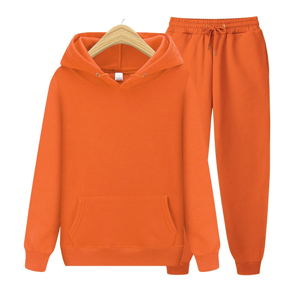 Men's Sets Hoodies+Pants Autumn Winter Hooded Sweatshirt Sweatpants