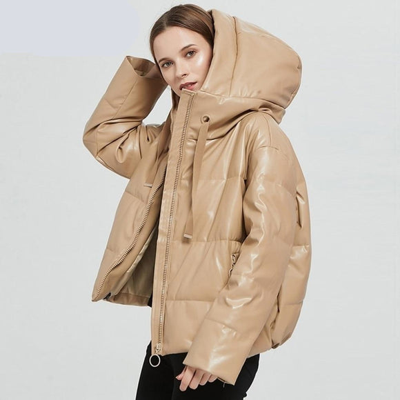 Women Thick  Faux Leather Padded Coat  Winter  Hooded Jacket