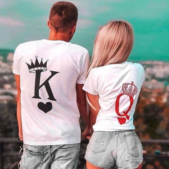 Couple Women T Shirt King and Queen Print  T-shirts