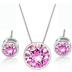 Small dot round shape setting women necklace earrings set